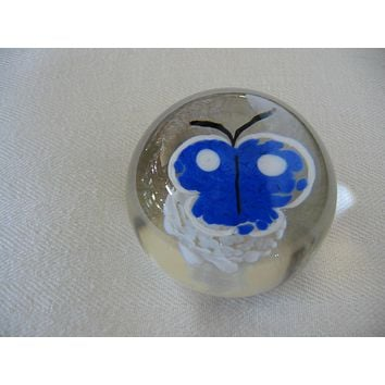 Fratelli Toso Vetreria Blue Butterfly Murano Glass Signed Paperweight