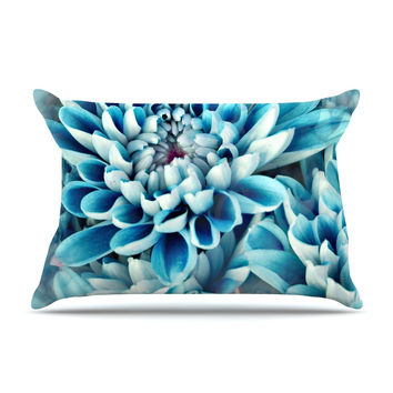 "Susan Sanders ""Floral Paradise"" Blue Flower Pillow Case"