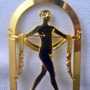 "Art Deco Revival""The Greek Dance"" 1980s Brooch"