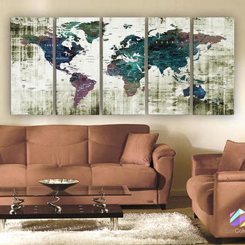 "XLARGE 30""x70"" 5 Panels 30""x14"" Ea Art Canvas Print Watercolor Green Old Map World Push Pin Travel Wall decor (framed 1.5"" depth)M1806"