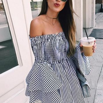 Black-White Striped Print Ruffle Backless Off Shoulder Bell Sleeve Sweet Mini Dress