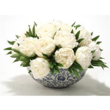 Silk White Peonies in Blue and White Porcelain Bowl