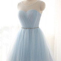 Simple Baby Blue Short Tulle Homecoming Dress