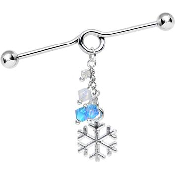 Handmade Snowflake Industrial Barbell Created with Swarovski Crystals