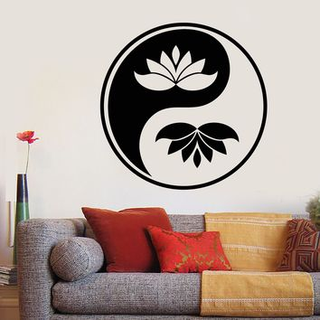 Vinyl Wall Decal Yin Yang Buddhism Symbol Lotus Flower Stickers (2277ig)