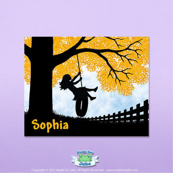 Personalized Girl silhouette on tire swing with orange tree - nursery or childs room wall art  - 5x7