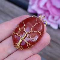 Red Carnelian gold-plated wire-wrapped Tree of Life pendant, Yggdrasil, World Tree pendant