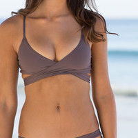 The Girl and The Water - L*Space Swim - Chloe Wrap Top Pebble
