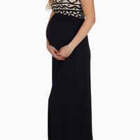 Black-Tribal-Print-Top-Maternity-Maxi-Dress