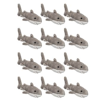 Bulk 12 Pack Great White Shark Mini 4 Inch Small Stuffed Animals, Bundle Ocean Animal Toys, Sea Party Favors for Kids