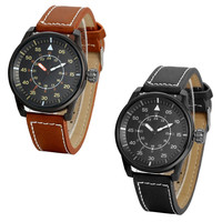 Men'S Military 24H Time Gun-Metal Black Watch With Brown Stitched Leather Strap