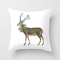 Artsy Christmas reindeer Throw Pillow by Jennifer Rizzo Design Company