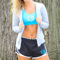 Sports Bra/ Running Shorts Combo- Monogrammed