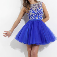 Rachel Allan 6670 - Royal Sequin Illusion Homecoming Dresses Online