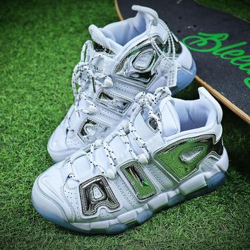 Nike Air More Uptempo QS White Silver Retro Basketball Shoes 415082-005 - Best Online Sale