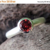 SALE 10% OFF red garnet stone ring 5mm natural red garnet ring in sterling silver - stacking ring or solitaire - gemstone ring - handmade