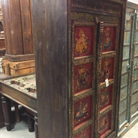 Antique INDIAN Armoire Maharaja and Ganesha Hand painted Decorating With Jewel Tones Cabinet COUNTRY CHIC