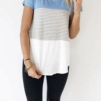 Blue Contrast Short Sleeve Vertical Stripe Tee Shirt