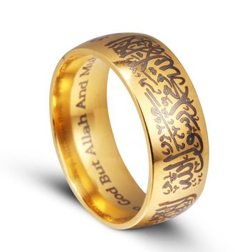 Caxybb brand Muslim Allah Shahada stainless steel ring islam Arabic God Messager Gift and Jewelry