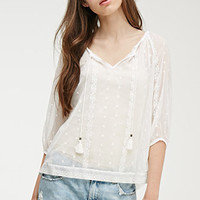 Embroidered Chiffon Peasant Top