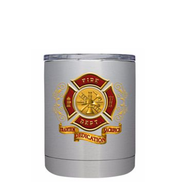 Red Gold Fire Department Badge on Stainless 10 oz Lowball Tumbler