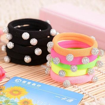 ESBUS4 10pcs/lot Candy Color Silver Crystal Balls Quality Black Elastic Ponytail Holders Hair Accessories Girl Women Rubber Band Mixed