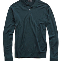 John Smedley Tyburn Longsleeve Polo Sweater in Racing Green