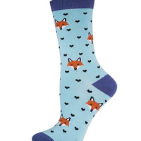 Socksmith Cloud Blue Bamboo Fox Lover Socks