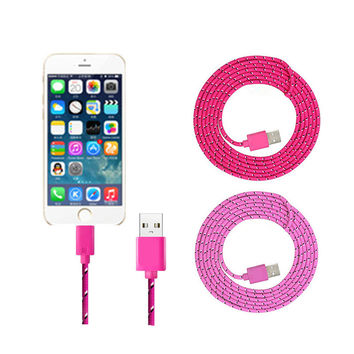 1M 2M 3M Braided fabric Nylon 8pin to USB Sync Data Charger Cable For iPhone 6 6s plus 7 5 5S 5C For iPad 4 mini 2 Air IOS 10