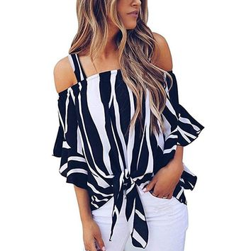 Women Blouses Summer 2018 Cold Shoulder Striped Spaghetti Strap Shirt Tie Knot Casual Blouse Tops Pencil Fashion