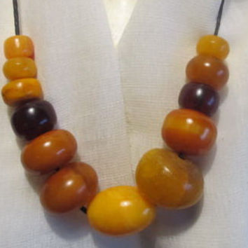 100% Natural #Antique #Baltic #Amber #Vintage #Huge #Necklace 133,2 grams #yellow  polished  opaque 12 beads  for adult