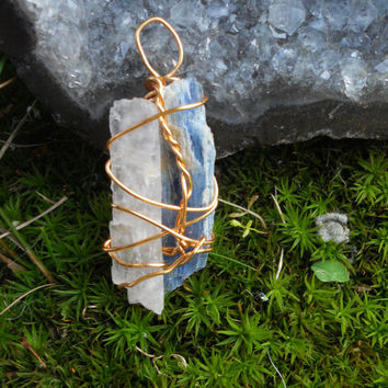 Selenite and Kyanite wire wrapped pendant necklace.