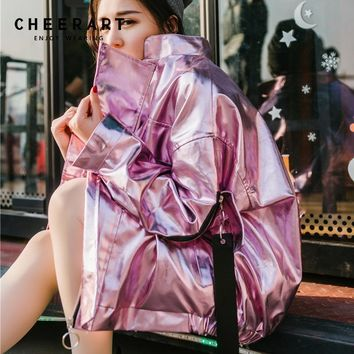 Trendy Cheerart Hip Hop Oversized Silver Jacket Women Pu Leather Glitter Loose Coat Streetwear Clothing Big Size Jackets Rock Punk Coat AT_94_13