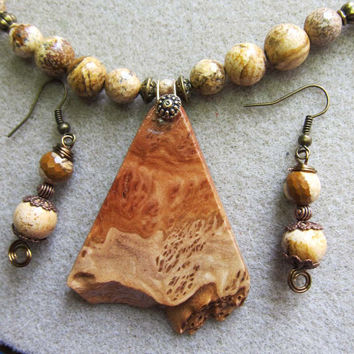 Unique Raw Edge Corrugata Burl Exotic Wood Pendant Necklace Earrings ExoticWoodJewelryAnd Ecofriendly repurposed