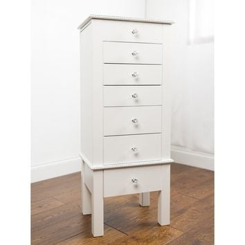 "Hives & Honey ""Hannah"" Crisp White Jewelry Armoire 