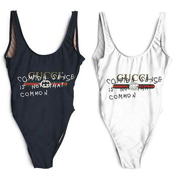 Gucci Swimmer Swim Tan Top Vest Shirt V Neck Women Letters Bottoming Clothes Bikini