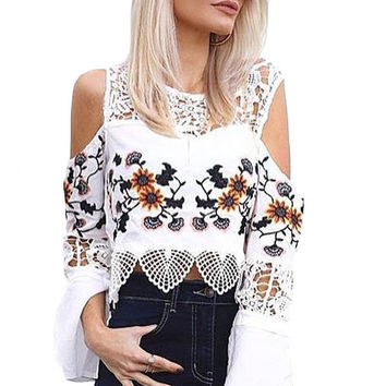 White Crochet Cold Shoulder Bell Sleeve Crop Top