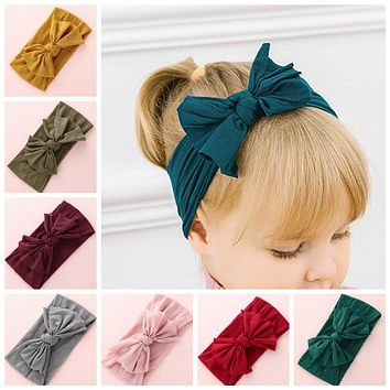Knot Bow Nylon Headbands, One size fits most Wide Bow Nylon Turban Head wraps Soft Headwrap, Baby Girls Hair Accessories