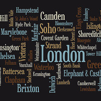 London Text Map Canvas Print