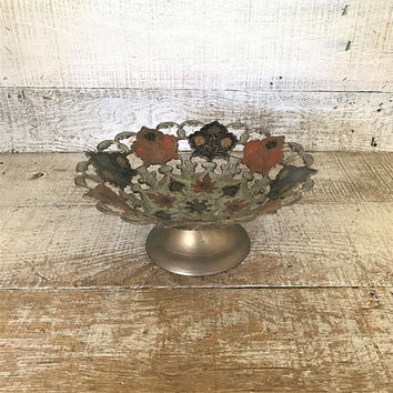 Brass Bowl Enamel Brass Bowl Cutout Brass Bowl Hollywood Regency Pedestal Bowl Centerpiece Base Ornate Brass Bowl Nut Bowl