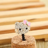 MinisDesign Crystal Hello Kitty Earphone Jack / Dust Plug (Color-Pink)