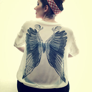 Tattoo Pin up Style Wings Print Oversize White Chiffon Transparent Top Free Shipping :)