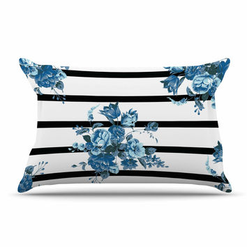 "NL Designs ""Blue Floral Strips"" Black White Pillow Case"