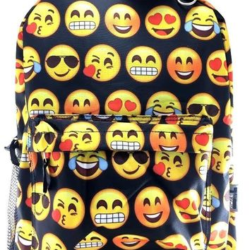 "Emoji 16"" JANS Style Canvas School Backpack- BLACK"