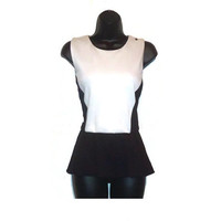 Peplum Top Classic Sleeveless Black and White Fashion Blouse Womens Clothing Extra Large