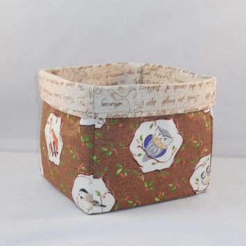 Brown And Tan Woodland Animals Fabric Basket For Storage Or Gift Giving
