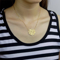 Monogram necklace - Sterling silver monogrammed necklace - nameplate necklace - 1.25 inch personalized monogram - 18K Glod Plated