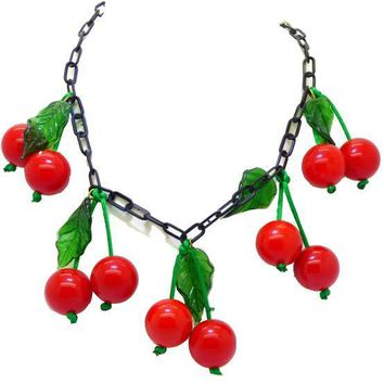 Cherry Bakelite Necklace, Black Celluloid Chain and Green Glass Leaves