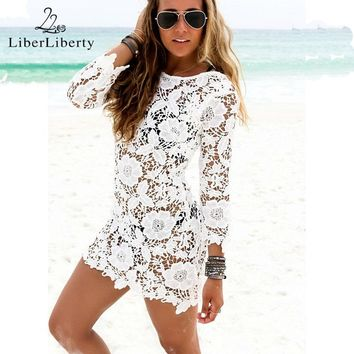 Sexy Women Pareo Cover Up Beach Dress Floral Lace Robe De Plage Mesh Fashion Tunic Bikini Bath Suit Female Saida Praia Swimwear