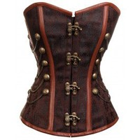 CD-231 - Brown Steampunk Style Overbust Corset with Chain and Stud Detail